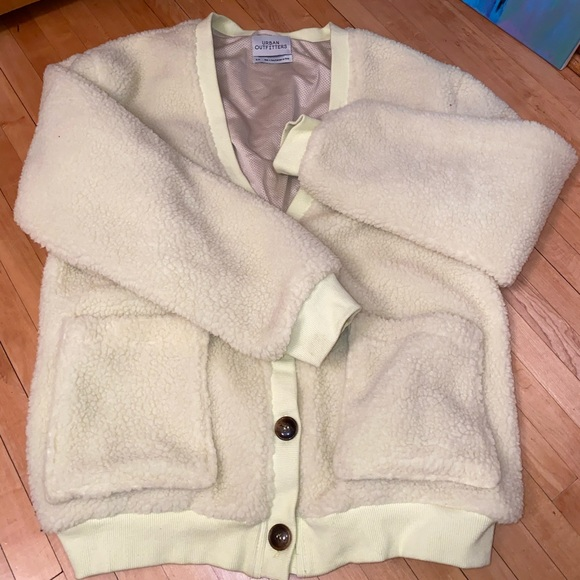 Urban Outfitters Sweaters - Yellowish-beige Sherpa cardigan!